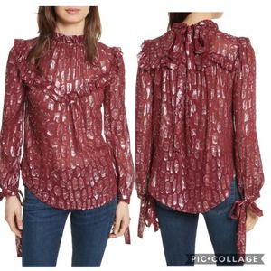 Veronica Beard Brooks Metallic Silk Blouse 2